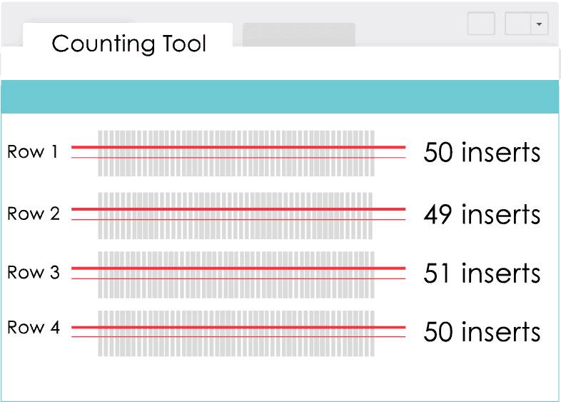 Sample Counting Tool output showing 4 rows of inserts being counted.