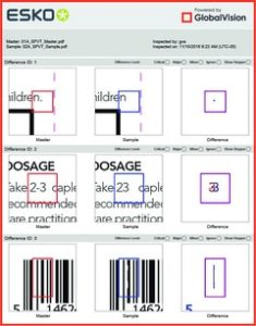 Esko workflow powered by GlobalVision showing Text Inspection and Barcode Inspection report