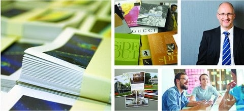 Collage of CRW printed materials, employees, and managers